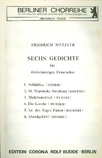 6 Gedichte: für Frauenchor a cappella Partitur