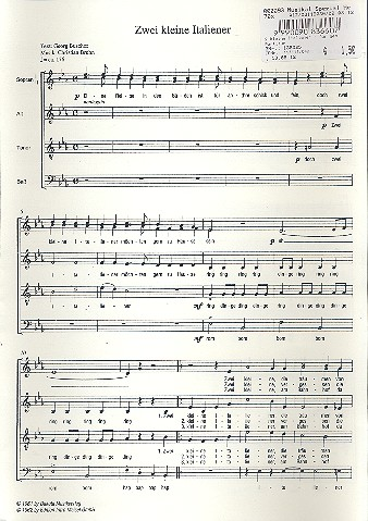 2 kleine Italiener: für gem Chor a cappella Partitur