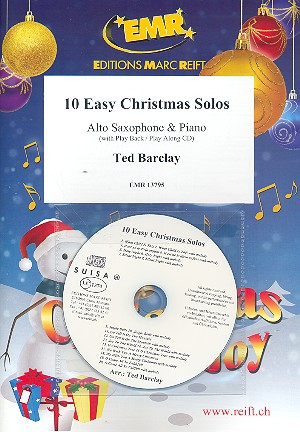 10 easy Christmas Solos (+CD): for alto saxophone and piano