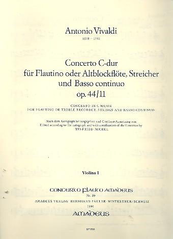 Concerto C-Dur op.44,11 RV443: für Flöte, (Alt-Blockflöte), Streicher und Bc