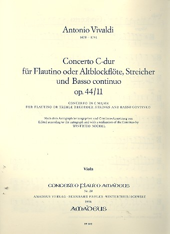 Concerto C-Dur opus.44,11 RV443: für Flöte, (Alt-Blockflöte), Streicher und Bc