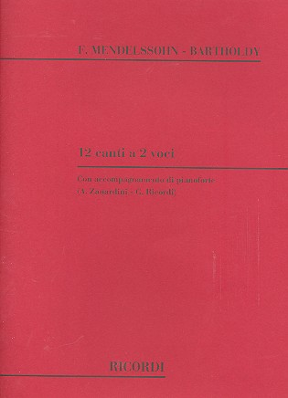 12 Canti a 2 voci: for 2 voices and piano