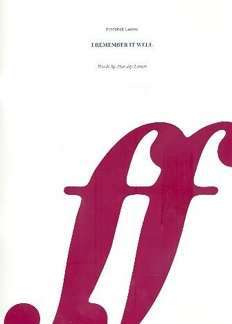 I remember It well: Einzelausgabe für Gesang und Klavier mit Akkorden