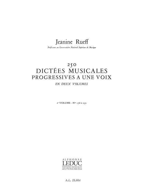 250 Dictées musicales progressives vol.2 (nos.176-250)