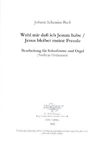 Wohl mir dass ich Jesum habe - Jesus bleibet meine Freude: für Trompete (C) und Orgel