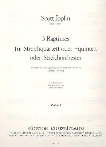 3 Ragtimes: für 4-5 Streicher (Streichorchester)