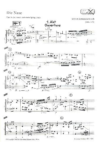 Dimitri Schostakowitsch - Die Nase Klavierauszug (dt)