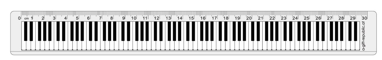 Lineal Tastatur 30 cm transparent - Vollanzeige.
