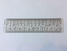 Lineal mit Viertelnoten 15 cm - Vollanzeige.
