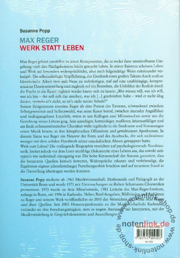 Popp, Susanne - Max Reger - Werk statt Leben : Biographie