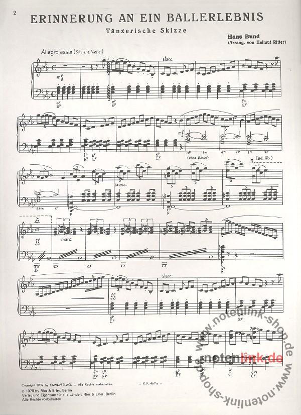 Hans Bund - Erinnerung an ein Ballerlebnis : für Klavier (Akkordeon ...
