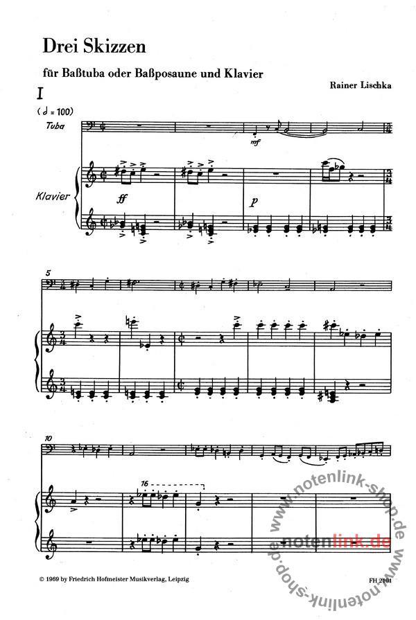 Lischka, Rainer - 3 Skizzen : für Basstuba (Bassposaune)