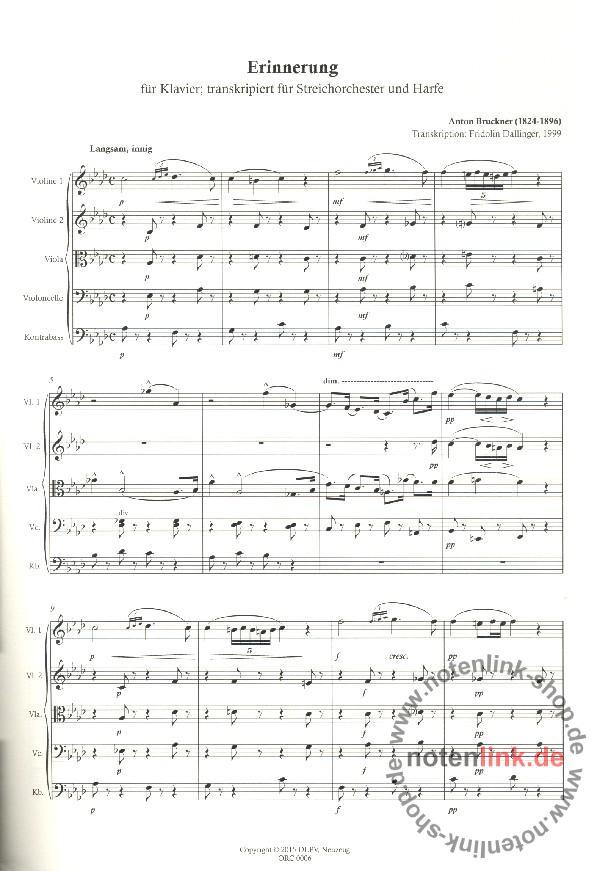 Anton Bruckner - Erinnerung : für Harfe und Streichorchester ...